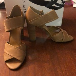 Nine West Adjustable Tan Heeled Sandals - Size 7